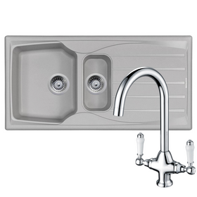 Astracast Sierra 1.5 Bowl Light Grey Kitchen Sink & KT2 Chrome Twin Lever Tap