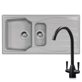 Astracast Sierra 1.5 Bowl Light Grey Kitchen Sink & Black Twin Lever Mixer Tap