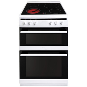 Amica AFC6520WH 60cm Freestanding Double Electric Oven Cooker With Ceramic Hob