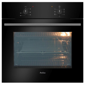 Amica ASC200BL Black 60cm Built-in 5 Function 62L Single Electric True Fan Oven