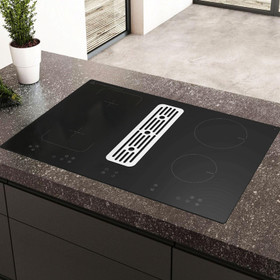 SIA 80cm Black Induction Hob With Built In Downdraft Extractor Fan & Filter