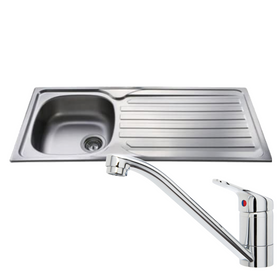 CDA CBS120SS Stainless Steel 1 Bowl Kitchen Sink & CDA Single Lever Chrome Tap