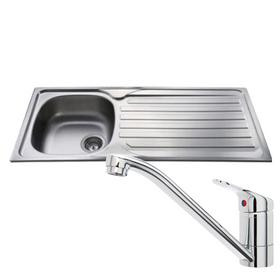 CDA CBS120SS Stainless Steel 1 Bowl Kitchen Sink & CDA Single Lever Chrome Tap