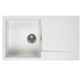 Reginox Amsterdam 10 Pure White 1 Bowl Reversible Granite Kitchen Sink and Waste