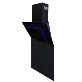 SIA 60cm Black Angled 3 Colour Edge Lit Cooker Hood & Toughened Glass Splashback