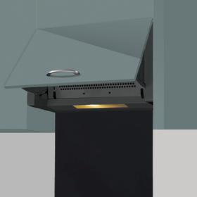 SIA 60cm Black Integrated Built In Cooker Hood & 60cm Toughened Glass Splashback