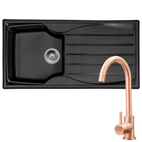 Astracast Sierra 1.0 Bowl Black Reversible Kitchen Sink & KT6CU Copper Mixer Tap