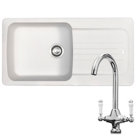 Franke Aveta 1.0 Bowl White Tectonite Kitchen Sink & KT2 Traditional Mixer Tap