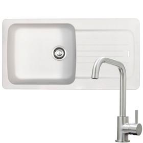 Franke Aveta 1.0 Bowl White Tectonite Kitchen Sink & KT6BND Brushed U-spout Tap