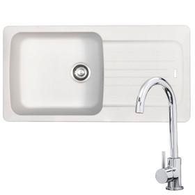 Franke Aveta 1.0 Bowl White Tectonite Kitchen Sink & KT6CH Chrome Mixer Tap