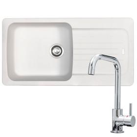 Franke Aveta 1.0 Bowl White Tectonite Kitchen Sink & KT6CHD Chrome U-spout Tap