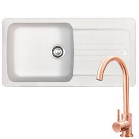 Franke Aveta 1.0 Bowl White Tectonite Kitchen Sink & KT6CU Copper Mixer Tap