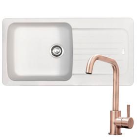 Franke Aveta 1.0 Bowl White Tectonite Kitchen Sink & KT6CUD Copper Mixer Tap