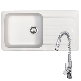 Franke Aveta 1.0 Bowl White Tectonite Kitchen Sink And KT7 Pull-out Spray Tap