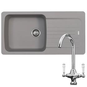 Franke Aveta 1.0 Bowl Stone Grey Reversible Kitchen Sink & KT2 Traditional Tap