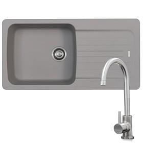 Franke Aveta 1.0 Bowl Stone Grey Reversible Kitchen Sink & KT6BN Brushed Tap