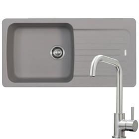 Franke Aveta 1.0 Bowl Stone Grey Reversible Kitchen Sink & KT6BND Brushed Tap