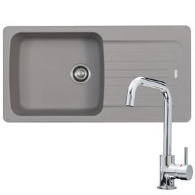 Franke Aveta 1.0 Bowl Stone Grey Reversible Kitchen Sink & KT6CHD Chrome Tap