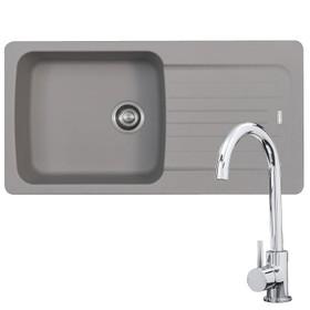 Franke Aveta 1.0 Bowl Stone Grey Reversible Kitchen Sink & KT6CH Chrome Tap