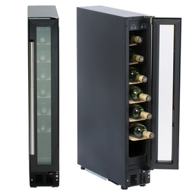 SIA WC15BL 150mm / 15cm Black Under Counter LED 7 Bottle Wine Cooler Chiller