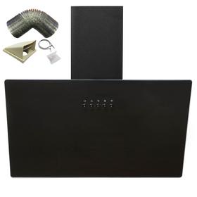 SIA AH60BL 60cm Black Angled Glass Chimney Kitchen Cooker Hood Fan & 1m Ducting