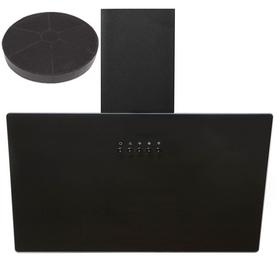 SIA AH60BL 60cm Black Angled Glass Chimney Kitchen Cooker Hood Fan & Filter