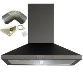 SIA CHL70BL 70cm Chimney Cooker Hood Extractor Fan In Black With 3m Ducting