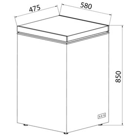 SIA CHF100S 48cm Freestanding Slimline Compact Silver Chest Freezer A+
