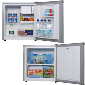 SIA Table Top Mini Beer, Drinks Fridge And Freezer Pack In Silver   A+ Rated