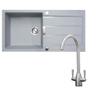 Franke 1 Bowl Grey Reversible Composite Kitchen Sink & KT5BN Brushed Nickel Tap