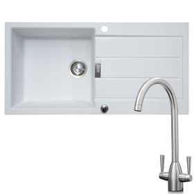 Franke 1 Bowl White Reversible Composite Kitchen Sink & KT5BN Brushed Nickel Tap