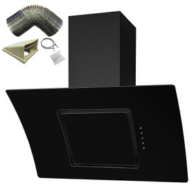 SIA 90cm Black Touch Control Angled Curved Glass Cooker Hood And 3m Ducting Kit