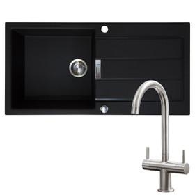 Franke 1.0 Bowl Black Reversible Composite Kitchen Sink & Brushed Nickel Tap