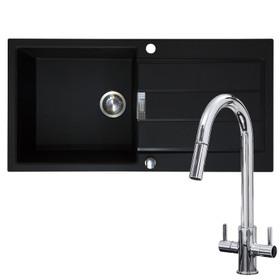 Franke 1.0 Bowl Black Reversible Composite Kitchen Sink & Chrome Pull-Out Tap