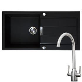 Franke 1 Bowl Black Reversible Composite Kitchen Sink & KT5BN Brushed Nickel Tap