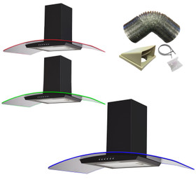 SIA 90cm Black 3 Colour LED Edge Lit Curved Glass Cooker Hood And 3m Ducting Kit