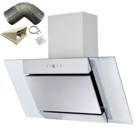 SIA 90cm Stainless Steel Angled Glass Chimney Cooker Hood Extractor & 1m Ducting