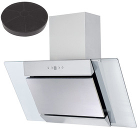 SIA 90cm Stainless Steel Angled Glass Cooker Hood Extractor Fan &Carbon Filter