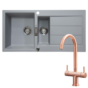 Franke 1.5 Bowl Stone Grey Reversible Composite Kitchen Sink & KT3CU Copper Tap