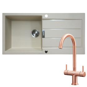 Franke 1 Bowl Coffee Reversible Composite Kitchen Sink & KT3CU Copper Mixer Tap
