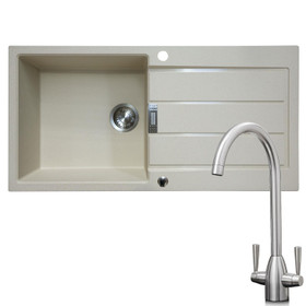 Franke 1 Bowl Coffee Reversible Composite Kitchen Sink & KT5BN Twin Lever Tap