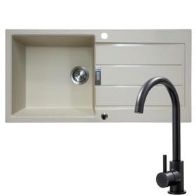 Franke 1 Bowl Coffee Reversible Composite Kitchen Sink & KT6BL Single Lever Tap