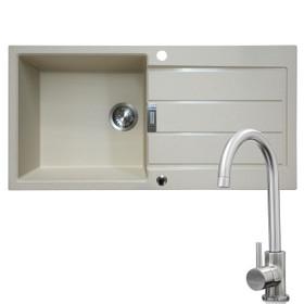 Franke 1 Bowl Coffee Reversible Composite Kitchen Sink & KT6BN Single Lever Tap