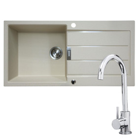 Franke 1 Bowl Coffee Reversible Composite Kitchen Sink & KT6CH Single Lever Tap