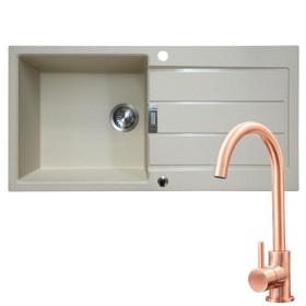 Franke 1 Bowl Coffee Reversible Composite Kitchen Sink & KT6CU Single Lever Tap