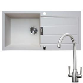 Franke 1 Bowl Cream Reversible Composite Kitchen Sink & KT5BN Brushed Nickel Tap