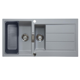 Franke Sirius 1.5 Bowl Stone Grey Composite Kitchen Sink & Colander Basket