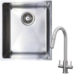 1.0 Bowl Undermount / Inset Stainless Steel Kitchen Sink W370 x D430 & KT4BN Tap