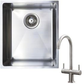 1.0 Bowl Undermount / Inset Stainless Steel Kitchen Sink W370 x D430 & KT3BN Tap