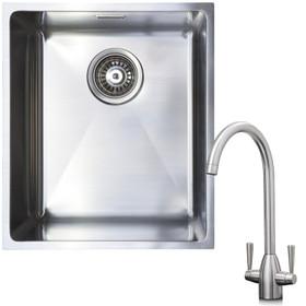 1.0 Bowl Undermount / Inset Stainless Steel Kitchen Sink W370 x D430 & KT5BN Tap